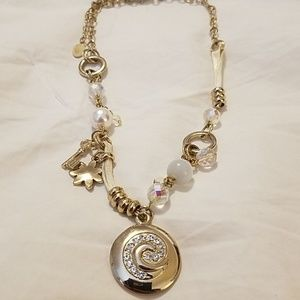 Cookie Lee jewelry gold tone charm necklace.